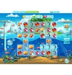 Fish world- playing field for the computer game or vector image