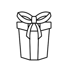 gift box ribbon parcel shopping linear vector image vector image