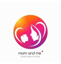 Logo mother and her baby Modern abstract vector image
