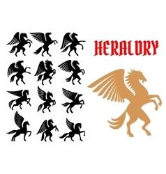 Mythical animals heraldic icons emblems vector image