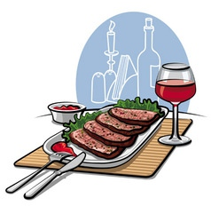 roast beef and wine vector image