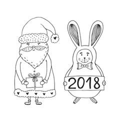 santa claus character with rabbit christmas and vector image