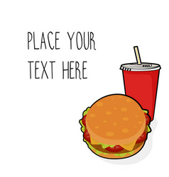 template with burger and red soda cup vector image vector image