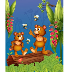 The bees and bear at the forest vector image