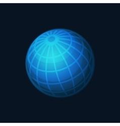 Blue Globe Network Icon on Dark Background vector image vector image