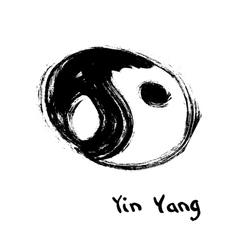 Buddhist symbol of yin yang Chinese calligraphy vector image