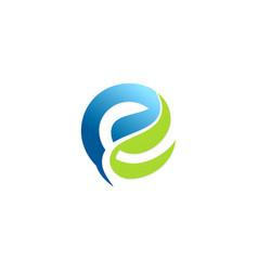 Letter e green leaf logo vector