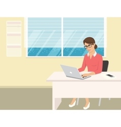 Business woman wearing rose shirt sitting in the vector image vector image