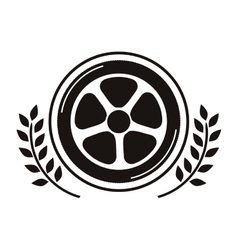 car wheel award in monochrome with olive branch vector image
