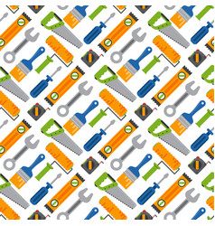 hands with construction tools seamless pattern vector image vector image