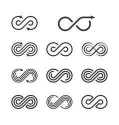 Infinity Logo Template Set Infinite Symbol Icon vector image vector image
