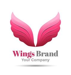 Pink simple wing logotype logo icon Design vector image