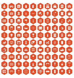 100 interior icons hexagon orange vector image vector image