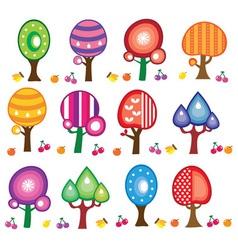 cartoon fruit trees vector image vector image