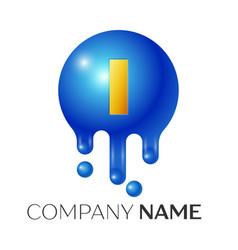 i letter splash logo blue dots and bubbles letter vector image vector image