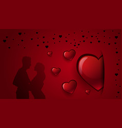 romantic background with silhouette couple holding vector image