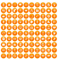 100 interface icons set orange vector