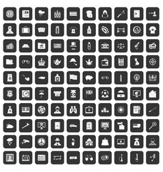100 police icons set black vector