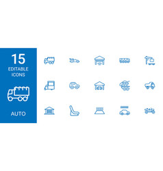 15 auto icons vector image