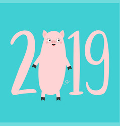 2019 pink text cute pig piggy piglet happy new vector image