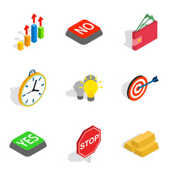 alarm icons set isometric style vector image