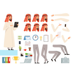 arabic businessman animation creation kit vector image