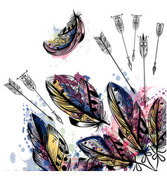 Background with hand drawn feathers in boho style vector