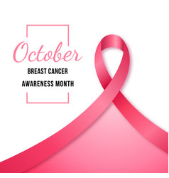 banner with pink ribbon symbol of breast cancer vector image