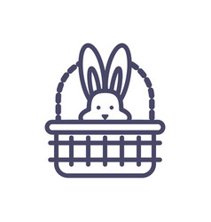 basket with cute rabbit head line style icon vector image