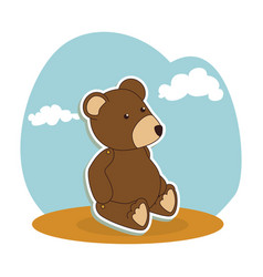 bear teddy baby toy icon vector image