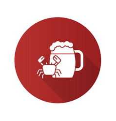 Beer mug with crab flat design long shadow glyph vector