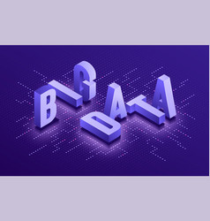 big data isometric typographic technology vector image