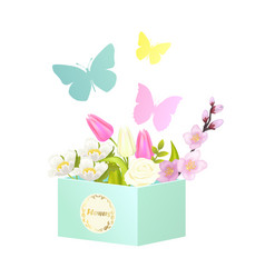 Bouquets and butterflies vector