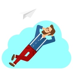 Businessman relaxing on cloud vector image
