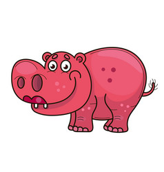 cartoon cute baby hippo vector image