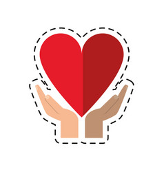 cartoon hand holding heart healthcare vector image