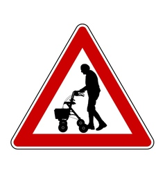 Caution elderly people vector