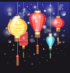 chinese red lanterns holidays vector image