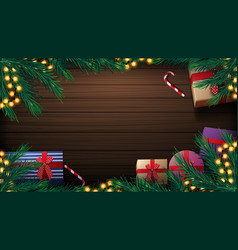 christmas background with wooden table presents vector image