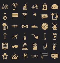 circus bike icons set simple style vector image