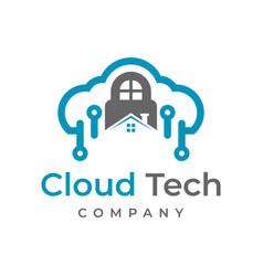 cloud tech logo design template vector image