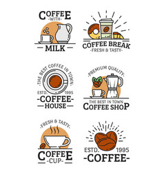 coffee liear icons with cup mug and beans vector image