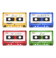 colored audio cassette mixtape retro pop rock vector image