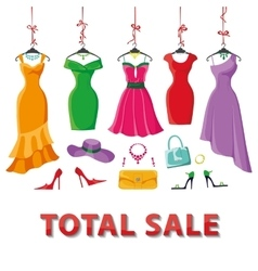Colored summer dresses and accessories setSale vector image