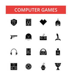computer games thin line icons vector image