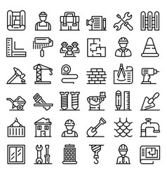 contractor icons set outline style vector image