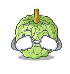 Crying fresh custard apple sweet fruit cartoon vector