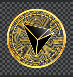 Crypto currency tron golden symbol vector