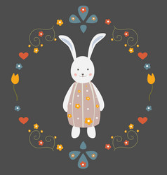 Cute bunny character for cards t-shirts easter vector