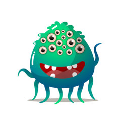 cute comic monster with all eyes with many legs vector image